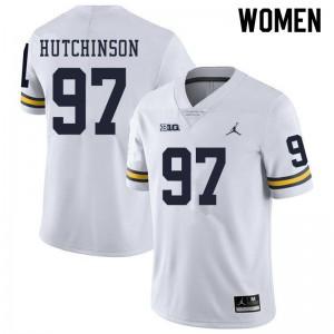Michigan Wolverines #97 Aidan Hutchinson Women's White College Football Jersey 556617-846