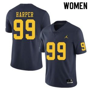 Michigan Wolverines #99 Trey Harper Women's Navy College Football Jersey 613437-668