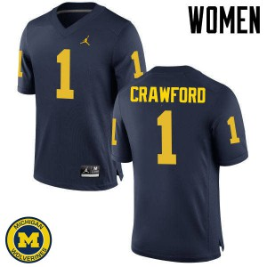Michigan Wolverines #1 Dylan Crawford Women's Navy College Football Jersey 189593-692