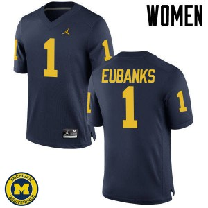 Michigan Wolverines #1 Nick Eubanks Women's Navy College Football Jersey 739472-372