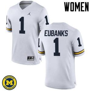 Michigan Wolverines #1 Nick Eubanks Women's White College Football Jersey 291572-960