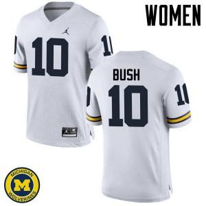 Michigan Wolverines #10 Devin Bush Women's White College Football Jersey 699786-781
