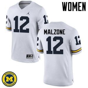 Michigan Wolverines #12 Alex Malzone Women's White College Football Jersey 475884-858