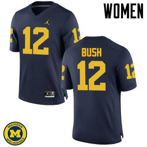 Michigan Wolverines #12 Peter Bush Women's Navy College Football Jersey 791445-520