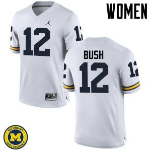 Michigan Wolverines #12 Peter Bush Women's White College Football Jersey 679427-629