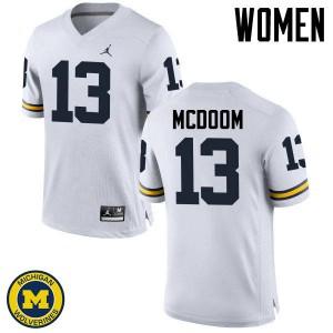 Michigan Wolverines #13 Eddie McDoom Women's White College Football Jersey 333805-376