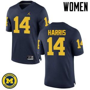 Michigan Wolverines #14 Drake Harris Women's Navy College Football Jersey 581557-397