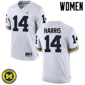 Michigan Wolverines #14 Drake Harris Women's White College Football Jersey 718508-701