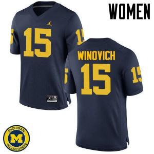 Michigan Wolverines #15 Chase Winovich Women's Navy College Football Jersey 791189-899
