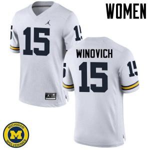 Michigan Wolverines #15 Chase Winovich Women's White College Football Jersey 820222-596