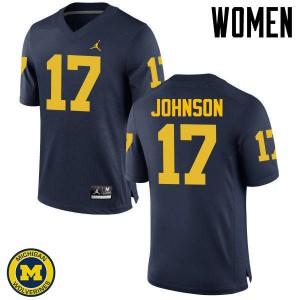 Michigan Wolverines #17 Ron Johnson Women's Navy College Football Jersey 592316-967