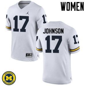 Michigan Wolverines #17 Ron Johnson Women's White College Football Jersey 634251-745