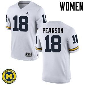 Michigan Wolverines #18 AJ Pearson Women's White College Football Jersey 522522-831