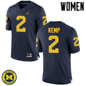 Michigan Wolverines #2 Carlo Kemp Women's Navy College Football Jersey 528183-375