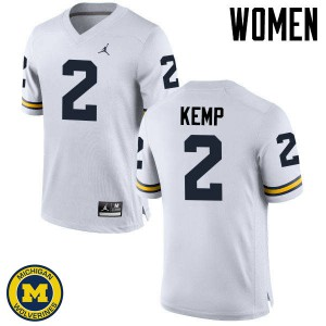Michigan Wolverines #2 Carlo Kemp Women's White College Football Jersey 766464-783