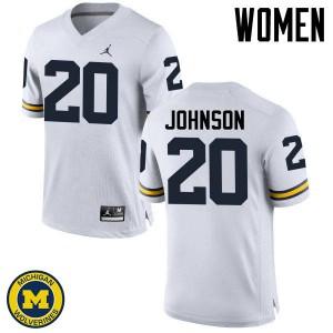 Michigan Wolverines #20 Drake Johnson Women's White College Football Jersey 417261-149