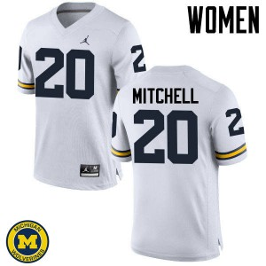 Michigan Wolverines #20 Matt Mitchell Women's White College Football Jersey 862898-909