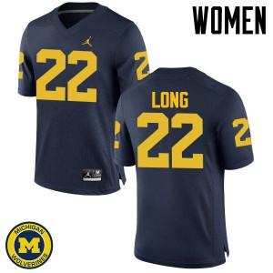 Michigan Wolverines #22 David Long Women's Navy College Football Jersey 655149-720
