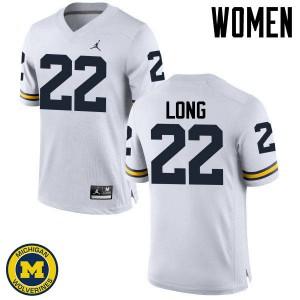 Michigan Wolverines #22 David Long Women's White College Football Jersey 930808-175