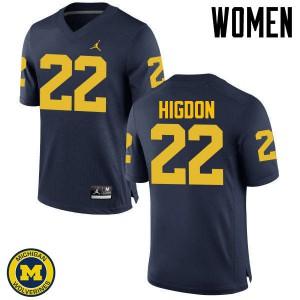 Michigan Wolverines #22 Karan Higdon Women's Navy College Football Jersey 305931-500