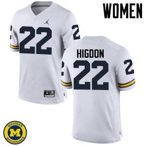 Michigan Wolverines #22 Karan Higdon Women's White College Football Jersey 697676-980