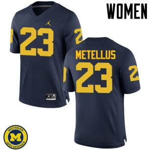 Michigan Wolverines #23 Josh Metellus Women's Navy College Football Jersey 203400-728