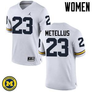 Michigan Wolverines #23 Josh Metellus Women's White College Football Jersey 274955-852
