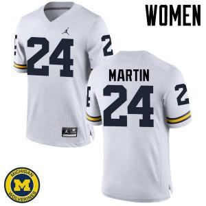 Michigan Wolverines #24 Jake Martin Women's White College Football Jersey 733241-984
