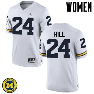 Michigan Wolverines #24 Lavert Hill Women's White College Football Jersey 809958-490
