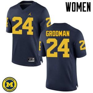 Michigan Wolverines #24 Louis Grodman Women's Navy College Football Jersey 688175-931