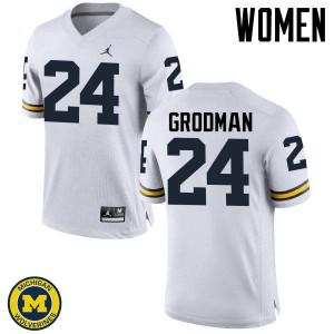 Michigan Wolverines #24 Louis Grodman Women's White College Football Jersey 723278-293