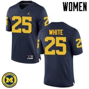 Michigan Wolverines #25 Brendan White Women's Navy College Football Jersey 214412-454