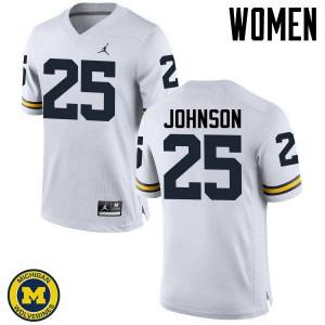 Michigan Wolverines #25 Nate Johnson Women's White College Football Jersey 927536-272