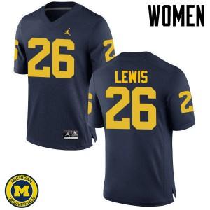 Michigan Wolverines #26 Jourdan Lewis Women's Navy College Football Jersey 503440-521