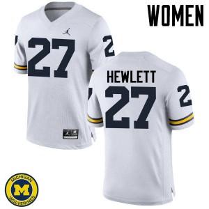 Michigan Wolverines #27 Joe Hewlett Women's White College Football Jersey 253165-759
