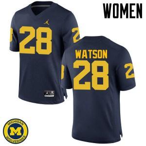 Michigan Wolverines #28 Brandon Watson Women's Navy College Football Jersey 201303-774