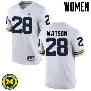 Michigan Wolverines #28 Brandon Watson Women's White College Football Jersey 747588-734
