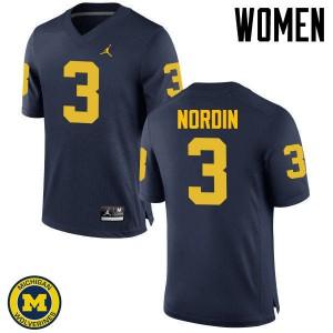 Michigan Wolverines #3 Quinn Nordin Women's Navy College Football Jersey 246303-446