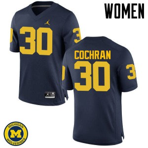 Michigan Wolverines #30 Tyler Cochran Women's Navy College Football Jersey 346695-768