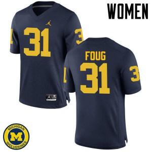 Michigan Wolverines #31 James Foug Women's Navy College Football Jersey 185832-325