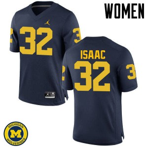 Michigan Wolverines #32 Ty Isaac Women's Navy College Football Jersey 303029-723