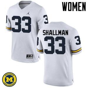 Michigan Wolverines #33 Wyatt Shallman Women's White College Football Jersey 698106-244