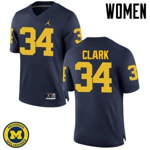 Michigan Wolverines #34 Jeremy Clark Women's Navy College Football Jersey 365340-131