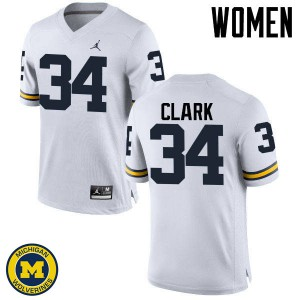 Michigan Wolverines #34 Jeremy Clark Women's White College Football Jersey 740858-742