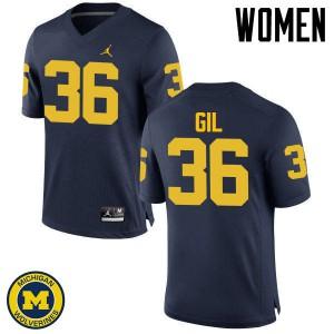 Michigan Wolverines #36 Devin Gil Women's Navy College Football Jersey 699290-406