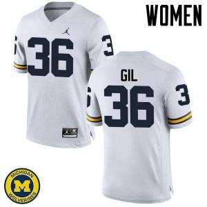 Michigan Wolverines #36 Devin Gil Women's White College Football Jersey 911747-588