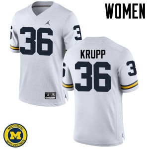 Michigan Wolverines #36 Taylor Krupp Women's White College Football Jersey 777881-476