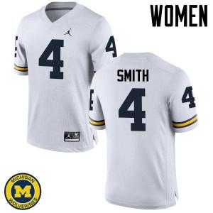 Michigan Wolverines #4 De'Veon Smith Women's White College Football Jersey 240312-707