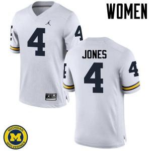 Michigan Wolverines #4 Reuben Jones Women's White College Football Jersey 399750-207