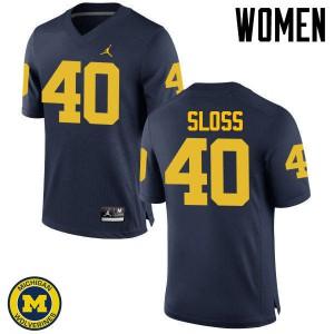 Michigan Wolverines #40 Kenneth Sloss Women's Navy College Football Jersey 989370-404